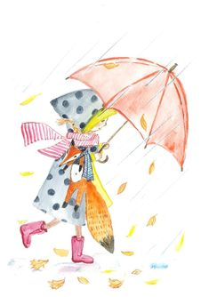 Check out this item in my Etsy shop https://www.etsy.com/ru/listing/491809516/girl-and-fox-under-red-umbrella