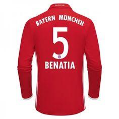 Bayern München 16-17 Medhi #Benatia 5 Hemmatröja Långärmad,304,73KR,shirtshopservice@gmail.com