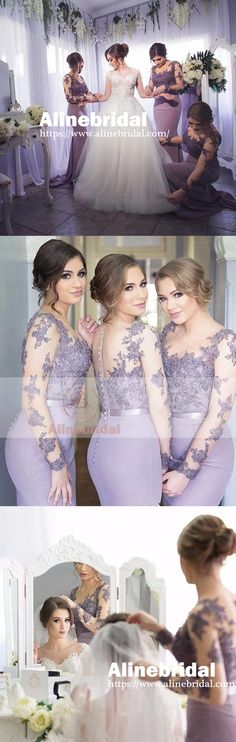 ELEGANT LILAC LACE LONG SLEEVE ILLUSION BACK SCOOP NECK MERMAID BRIDESMAID DRESSES. AB1193