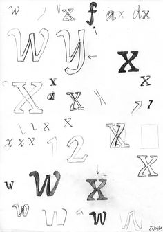 """Sketches for """"Coline Extreme"""" typeface, Emilie Rigaud."""