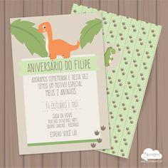 Convite para festas infantl Dinossauro - para imprimir em casa ou na gráfica de sua preferência