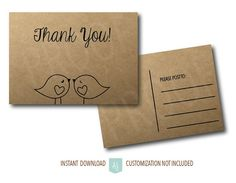 Love Bird Thank You Cards, just download, print, and add your note to the back.  So easy! Click through for matching invites, save the dates, games, decorations, and more. Over 800+ designs to choose from, ranging from elegant to rustic, from vintage to modern. Only at Aesthetic Journeys