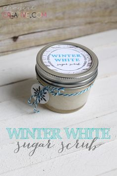 Winter White Sugar Scrub from thegirlcreative.com #beauty #sugarscrub #homemadeproducts