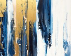 Abstract Painting 24x24 Gold and White Art von JenniferFlanniganart
