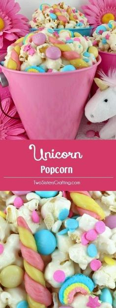 Unicorn Popcorn - sweet and salty popcorn mixed with sprinkles, candy and tasty unicorn horns. An adorable and delicious treat your family won't soon forget. It is both fun and delicious, a great combination! A fun anytime snack that would also be a great Party food at a Unicorn Birthday Party or a My Little Pony Birthday Party. Pin this easy to make dessert for later and follow us for more great Popcorn Recipe Ideas. by callie