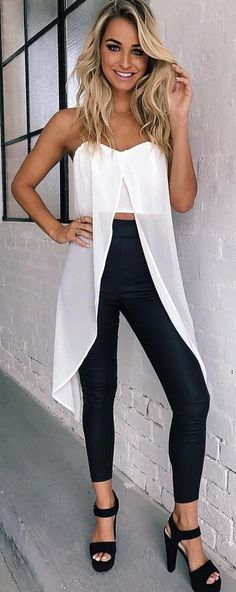 #winter #outfits /  White Cropped Top // Black Leather Leggings // Black Platform Pumps