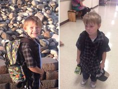 5+ Hilarious Pics Of Kids Before & After Their First Day Of School #photography #photo http://www.boredpanda.com/before-after-first-day-at-school/