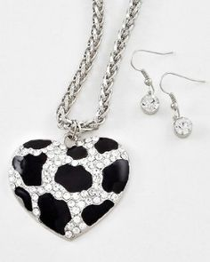 Leopard Cheetah Designer Style Crystal Heart Necklace & Earring Set by Jersey Bling ships in Gift Box: Jewelry: Amazon.com