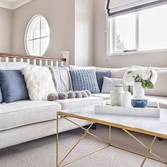 This is possibly my fave colour palette and all the clients I'm working with at the moment are thankfully embracing blue as an accent colour. So soothing don't you think? This shot is from a campaign I recently styled for BIG W in the stunning Bayville display home from @metriconhomes. That coffee table is everything and before you ask... i'm not sure where it's from lol 😭