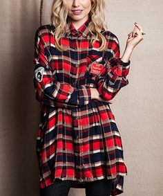 Red & Navy Oversize Plaid Button-Up Tunic @ Zulily