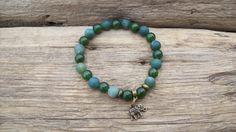 Bracelet homme - Bracelet perles - Agate mousse naturelle de 8 mm - Cadeau pour lui - Bijou homme - Bracelet élastique - Bracelet masculin de la boutique Perlesforever sur Etsy