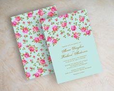 Antique rose wedding invitation, victorian, vintage, 1950's wedding invite, victorian invitations, tiffany blue, antique gold, light blue, fuchsia, Nicole. By appleberryink, $1.00