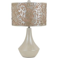 """REFRESH table lamp by Candice Olson for AF Lighting with laser cut shade.  Pearl finish.  26""""H 16""""W 16""""D #candiceolson #aflighting"""