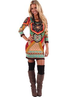 Lime Lush Boutique - Multi Color Ethnic Print Sweater Dress, $56.99 (http://www.limelush.com/multi-color-ethnic-print-sweater-dress/)