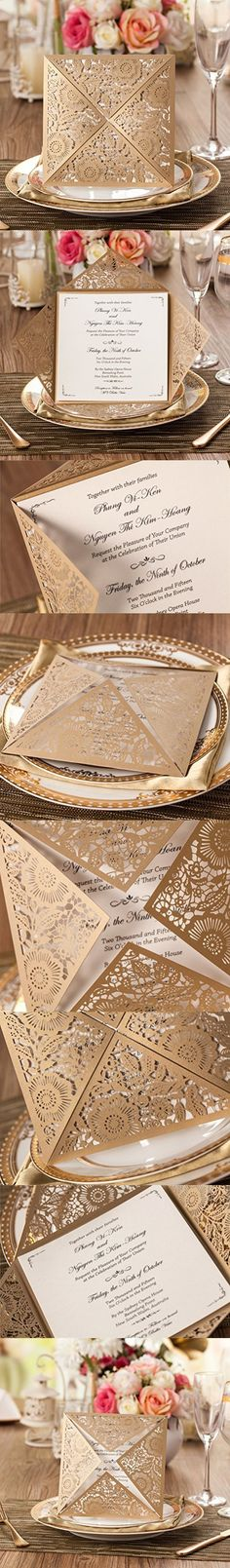 Wishmade 100X Gold Square Laser Cut Wedding Invitations Kit Card Stock For Engagement Bridal Shower Birthday Baby Shower Party CW520_GO