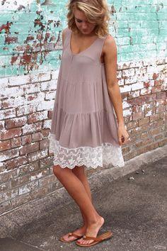 Tiered Lace Tank Dress {Mocha}