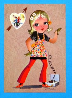Vintage doll card from the 70's. Big eyed girl thinking about dancing with her boyfriend.