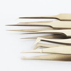Lash Artisan brand gold lash extension tweezers.   $25-$35 CAD  All Lash Artisan tweezers are made from surgical stainless steel, with a balanced lightweight design, and a precision tight grip with the flushed fine tip, these tweezers are not only comfortable to handle but also precision perfect.