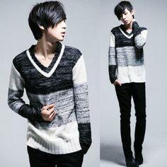 Mens sixth v-neck thin pullovers