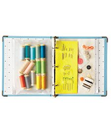 Sewing Repair Kit in a Binder -- Where's an extra button when you need one? Find sewing supplies fast in this three-ring-binder repair kit. Add zipper pouches and a felt needle holder (use spray starch to make felt sturdier). Organisation Hacks, Craft Organization, Organizing Tips, Organising, Organization Station, Martha Stewart, Sewing Hacks, Sewing Crafts, Sewing Kits