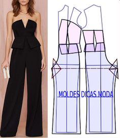 DIY Women's Clothing : macacão para cerimónia -Read More –Are Cats NocturnalPattern for jumpsuitThe best DIY projects & DIY ideas and tutorials: sewing, paper craft, DIY.Love these diy fashion Fashion Sewing, Diy Fashion, Ideias Fashion, Fashion Outfits, Fashion Forms, Jumpsuit Pattern, Pants Pattern, Diy Clothing, Sewing Clothes