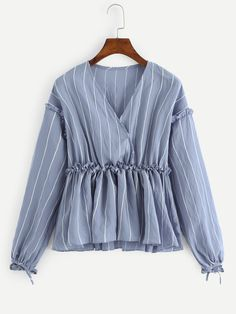 Casual Striped Peplum Regular Fit V neck Long Sleeve Pullovers Blue Regular Length Frill Surplice Striped Blouse Cute Casual Outfits, Stylish Outfits, Stylish Shirts, Muslim Fashion, Hijab Fashion, Teen Fashion Outfits, Fashion Dresses, Stylish Dresses For Girls, Stylish Tops For Women