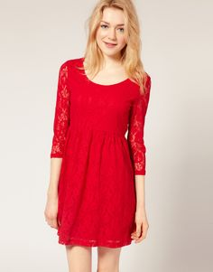 #VeroModa lace #Dress in red, how can you not love this!
