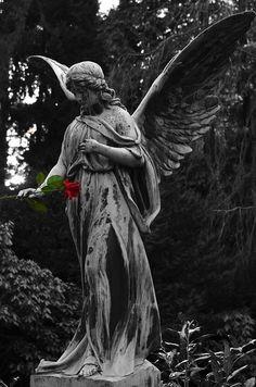 天使, 像, 彫刻, 墓地, 記念碑, 信仰, 宗教, 白黒