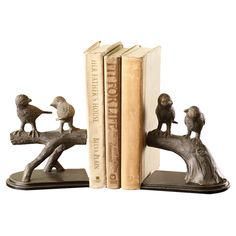 Features:  -Material: Aluminum.  Product Type: -Decorative.  Style: -Country.  Subject: -Birds.  Theme: -Animals.  Life Stage: -Adult.  Color: -Brown.  Primary Material: -Metal.  Number of Bookends: -