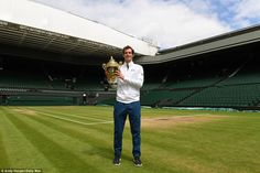 The Scot, pictured at Wimbledon at around 10am, never looked in danger in the final but still had to win two tie-breaks to secure victory