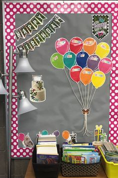 This festive classroom display makes it easy to highlight your students' birthdays. Birthday Wall Display Classroom, Preschool Birthday Board, Birthday Display In Classroom, Classroom Display Boards, Birthday Bulletin Boards, Classroom Layout, Classroom Walls, Classroom Displays, Class Decoration