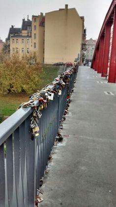 The locked bridge. Poznan, Poland.