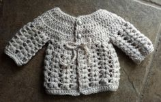 Crochet baby girl cardigan with pearl button by MalindasDesigns, $37.00