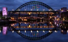 Giant Olympic rings have been erected on the Tyne Bridge in Newcastle. The rings are made of aluminum and are approximately 25 metres wide by 12 metres high, making them the largest set of metal Olympic rings in the UK.  Picture: Scott Heppell/AP