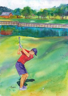 """hole at TPC Eagle Trace Golf Course"""" an original by Barb Capeletti. Prints in many sizes now available on Fine Art America. Hydro Painting, Golf Painting, Watercolor Projects, Watercolor Paintings, Original Paintings, Watercolors, Golf Art, Boy Drawing, Boys Playing"""