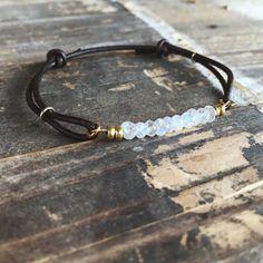 Gemstone bracelet leather bracelet leather gemstone