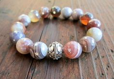 Botswana Agate & Sterling Silver Bracelet Faceted by amariesshop