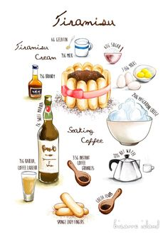 Tiramisu ~ bizarre island ~: d for delicious Cake Drawing, Food Drawing, Drawing Art, Cake Illustration, Food Illustrations, Food Design, Cute Food, Yummy Food, Delicious Recipes