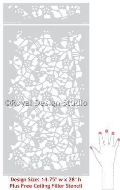 Wall Stencil Allover Damask Japanese Birds by royaldesignstencils, $59.00