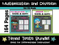 You SAVE when you purchase the MULTIPLICATION AND DIVISION FACT TIMED TEST BUNDLE!This resource includes timed tests and practice worksheets for multiplication and divsion math facts 0-12. This is a great way to differentiate instruction and ensure that students have a mastery of their math facts.