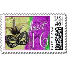 Sweet 16 mardi gras design with mask and feathers postage stamp