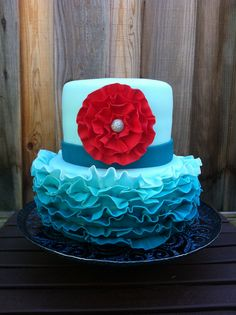 fondant ruffles cakes images | Teal Ombre Fondant Ruffles — Birthday Cakes