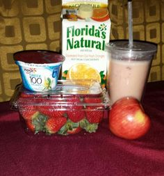Delicious quick and easy smoothie/ Great for breakfast or lunch/ My two year old daughter loves this!     Ingredients:  6oz of Orange juice // 1/2 of an apple//  8oz of vanilla yogurt//  8 whole strawberries//  1 whole banana//   1 1/2 cups of ice