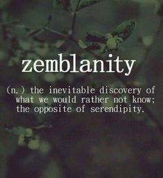 zemblanity (n.) the inevitable discovery of what we would rather not know; the opposite of serendipity.