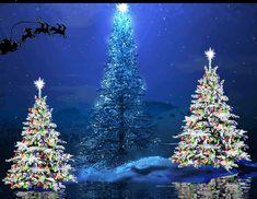 Santa's Sleigh Flying Over Christmas Trees blue animated fly gif reindeer christmas santa sleigh christmas pics