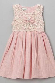 Diy Crafts - Baby pink chiffon lace round neck bowknot dresses, cute girls dress - occasion dresses by Sweetheartgirls Cute Girl Dresses, Little Girl Dresses, Flower Girl Dresses, Toddler Dress, Baby Dress, The Dress, Little Girl Fashion, Kids Fashion, Kids Frocks