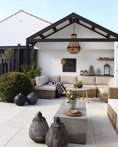 modern rustic patio seating area Bohemian vibe White terrace Black accents Romantic and cozy relaxing vibe Outdoor Living Space, Outdoor Decor, Patio Design, Patio Seating Area, Rustic Patio, Outdoor Seating Areas, Seating Area, Scandinavian Interior
