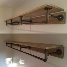 Pipe shelving. Made from metal piping and stained wood. More