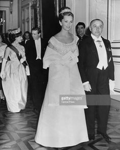 Princess Paola of Belgium (later Queen Paola of Belgium) followed by Princess Margaret Countess of Snowdon (1930 - 2002) and Antony Armstrong-Jones - 1st Earl of Snowdon, attend the pre-wedding celebrations for King Baudouin of Belgium and his bride Queen Fabiola of Belgium, Brussels, 14th December 1960 . (Photo by Central Press/Hulton Archive/Getty Images)