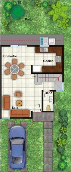 Planos de Casas y Plantas Arquitectónicas de Casas y Departamentos: Planta arquitectónica de casa de dos plantas y 3 recámaras